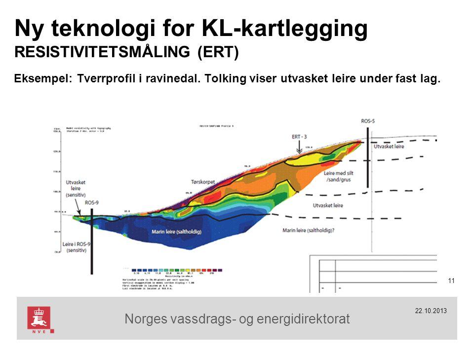 Norges vassdrags- og energidirektorat 22.10.2013 Ny teknologi for KL-kartlegging RESISTIVITETSMÅLING (ERT) Eksempel: Tverrprofil i ravinedal.