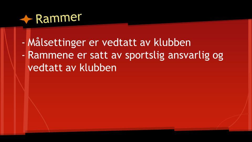 Rammer -Målsettinger er vedtatt av klubben -Rammene er satt av sportslig ansvarlig og vedtatt av klubben