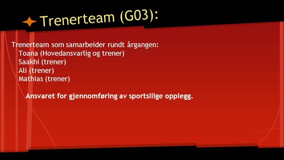 Trenerteam (G03): Trenerteam som samarbeider rundt årgangen: Toana (Hovedansvarlig og trener) Saakhi (trener) Ali (trener) Mathias (trener) Ansvaret for gjennomføring av sportsllige opplegg.