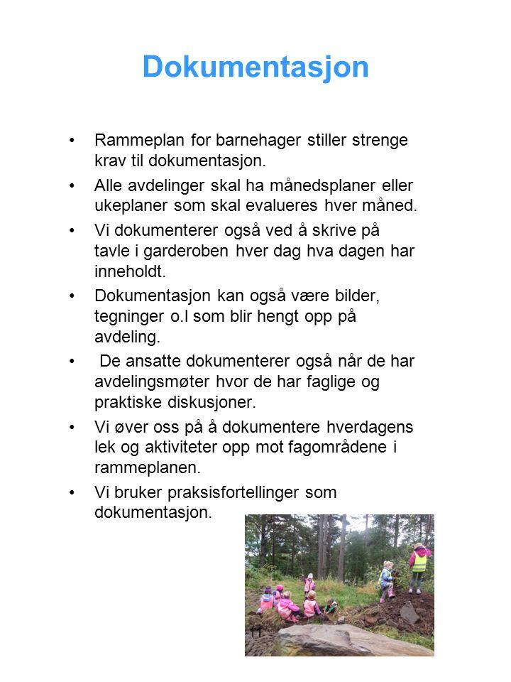 Dokumentasjon Rammeplan for barnehager stiller strenge krav til dokumentasjon.