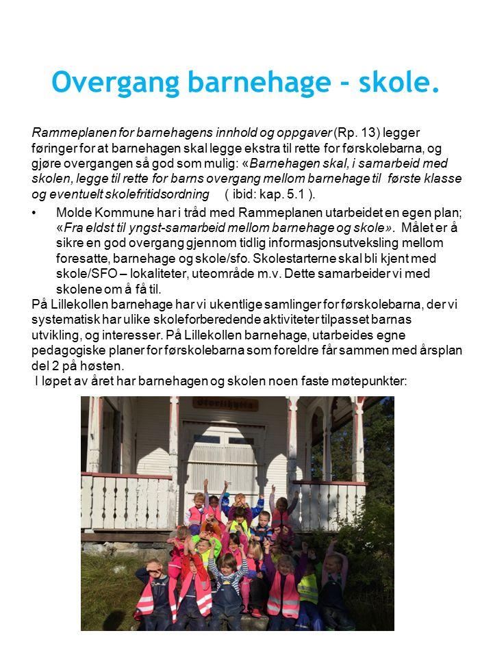 Overgang barnehage - skole. Rammeplanen for barnehagens innhold og oppgaver (Rp.