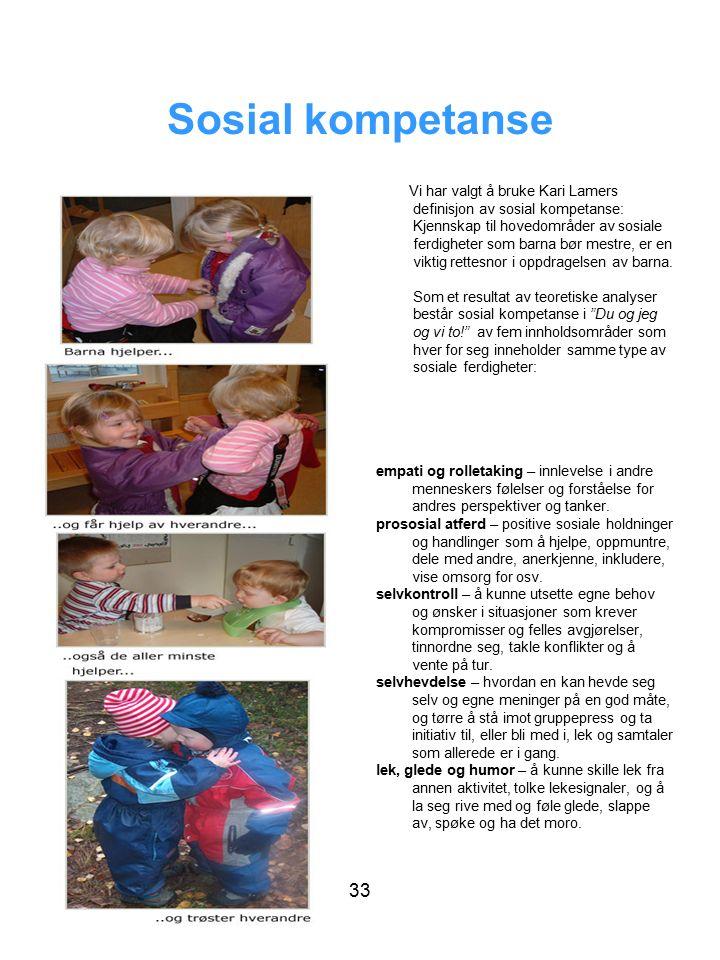 Sosial kompetanse Vi har valgt å bruke Kari Lamers definisjon av sosial kompetanse: Kjennskap til hovedområder av sosiale ferdigheter som barna bør mestre, er en viktig rettesnor i oppdragelsen av barna.