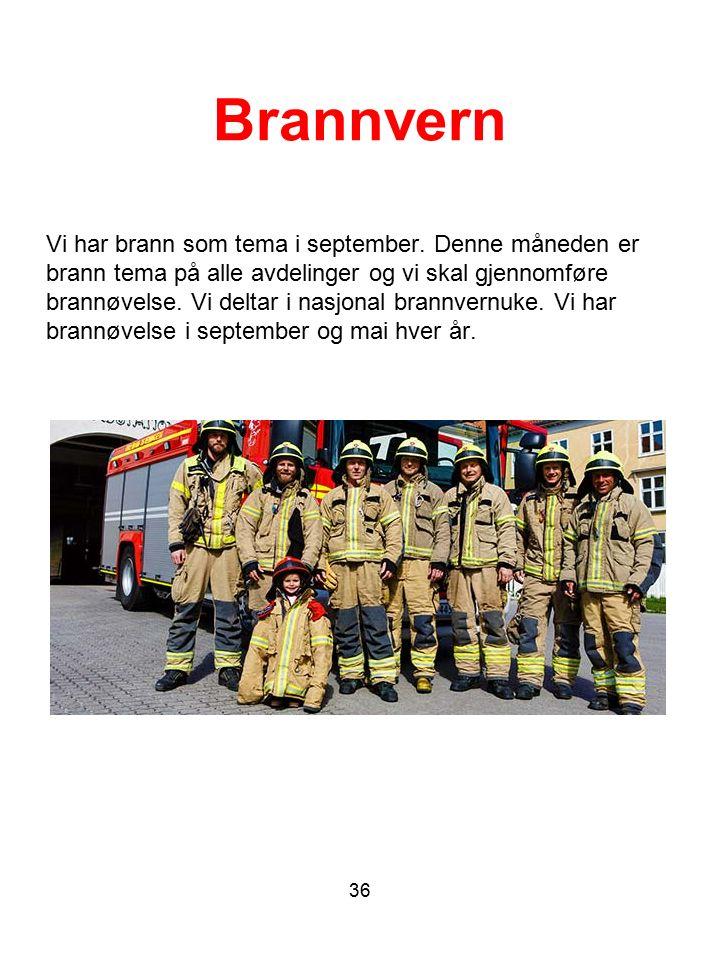 Brannvern Vi har brann som tema i september. Denne måneden er brann tema på alle avdelinger og vi skal gjennomføre brannøvelse. Vi deltar i nasjonal b