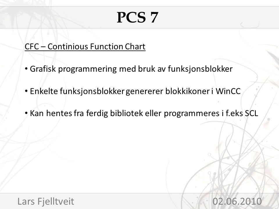 CFC – Continious Function Chart Grafisk programmering med bruk av funksjonsblokker Enkelte funksjonsblokker genererer blokkikoner i WinCC Kan hentes fra ferdig bibliotek eller programmeres i f.eks SCL PCS 7 Lars Fjelltveit 02.06.2010