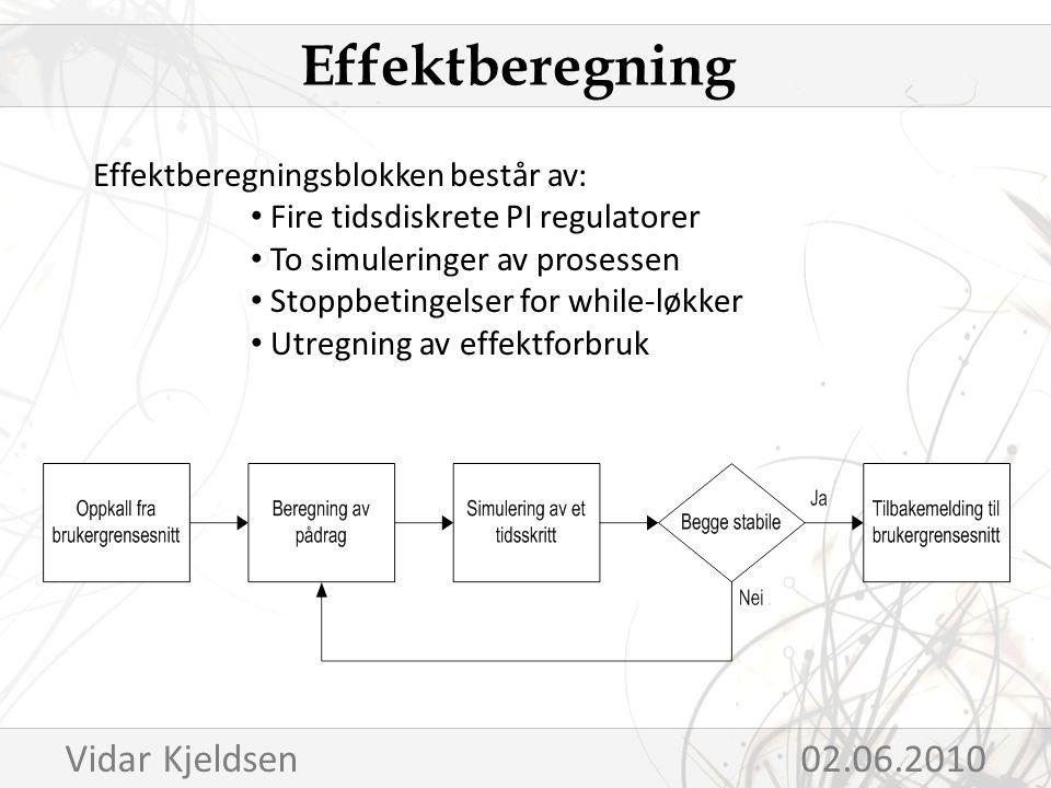 Effektberegningsblokken består av: Fire tidsdiskrete PI regulatorer To simuleringer av prosessen Stoppbetingelser for while-løkker Utregning av effektforbruk Effektberegning Vidar Kjeldsen 02.06.2010