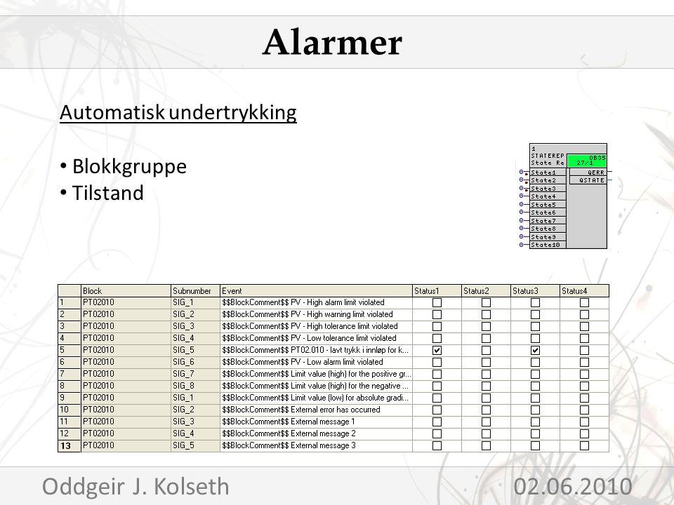 Automatisk undertrykking Blokkgruppe Tilstand Alarmer Oddgeir J. Kolseth02.06.2010