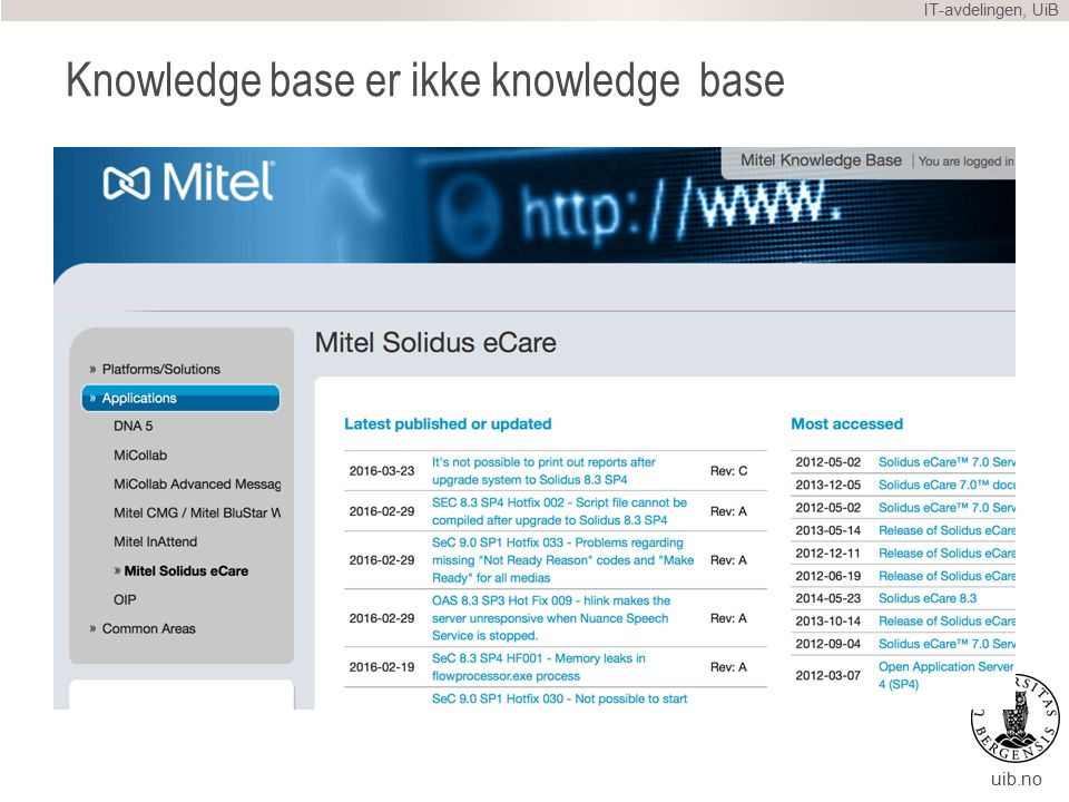 uib.no Knowledge base er ikke knowledge base IT-avdelingen, UiB