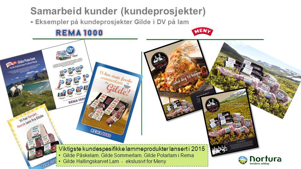 Samarbeid kunder (kundeprosjekter) - Eksempler på kundeprosjekter Gilde i DV på lam Viktigste kundespesifikke lammeprodukter lansert i 2015 Gilde Påskelam, Gilde Sommerlam, Gilde Polarlam i Rema Gilde Hallingskarvet Lam - ekslusivt for Meny