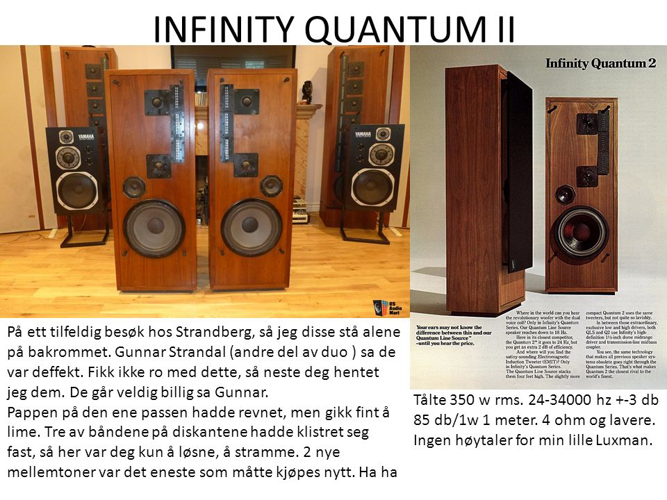 INFINITY QUANTUM II På ett tilfeldig besøk hos Strandberg, så jeg disse stå alene på bakrommet. Gunnar Strandal (andre del av duo ) sa de var deffekt.