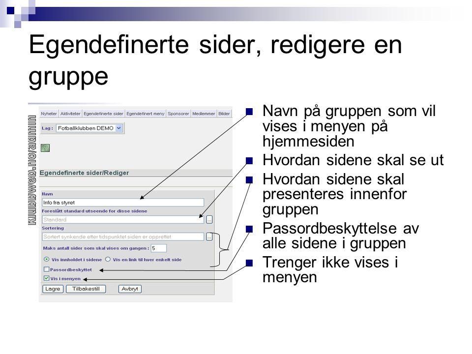 Egendefinerte sider, redigere en gruppe Navn på gruppen som vil vises i menyen på hjemmesiden Hvordan sidene skal se ut Hvordan sidene skal presentere
