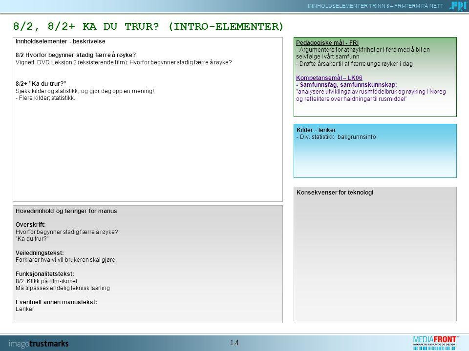 INNHOLDSELEMENTER TRINN 8 – FRI-PERM PÅ NETT 14 8/2, 8/2+ KA DU TRUR.