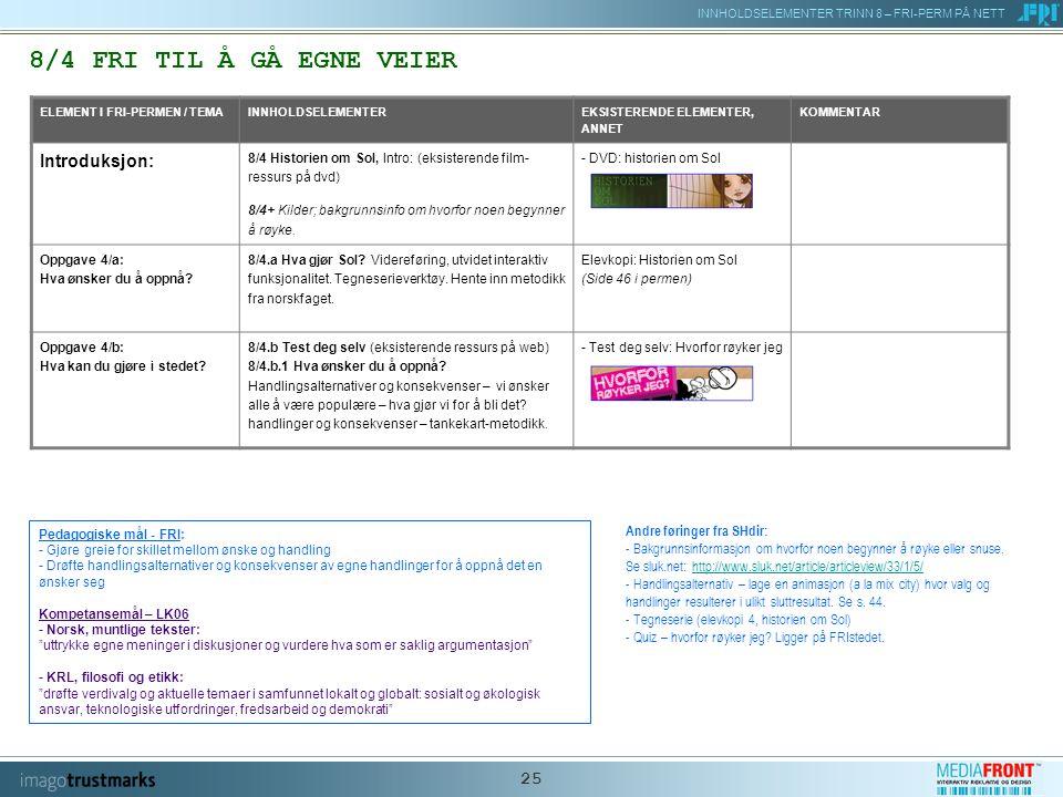 INNHOLDSELEMENTER TRINN 8 – FRI-PERM PÅ NETT 25 8/4 FRI TIL Å GÅ EGNE VEIER ELEMENT I FRI-PERMEN / TEMAINNHOLDSELEMENTER EKSISTERENDE ELEMENTER, ANNET KOMMENTAR Introduksjon: 8/4 Historien om Sol, Intro: (eksisterende film- ressurs på dvd) 8/4+ Kilder; bakgrunnsinfo om hvorfor noen begynner å røyke.