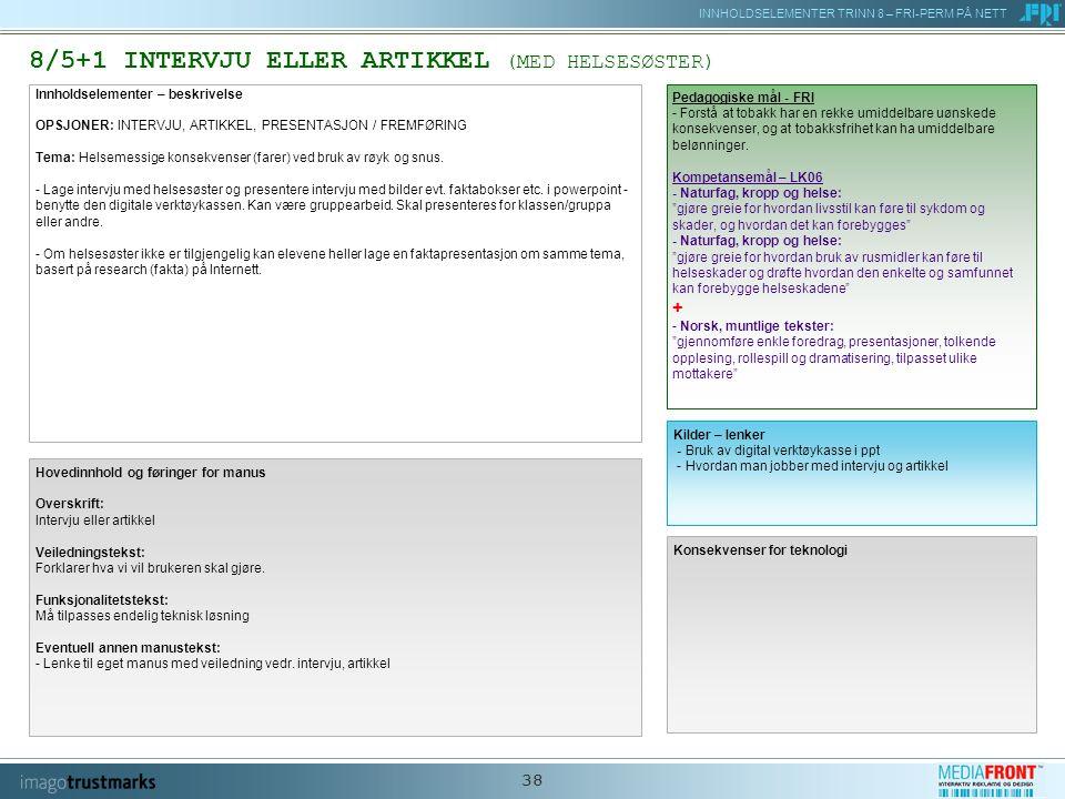 INNHOLDSELEMENTER TRINN 8 – FRI-PERM PÅ NETT 38 8/5+1 INTERVJU ELLER ARTIKKEL (MED HELSESØSTER) Innholdselementer – beskrivelse OPSJONER: INTERVJU, ARTIKKEL, PRESENTASJON / FREMFØRING Tema: Helsemessige konsekvenser (farer) ved bruk av røyk og snus.