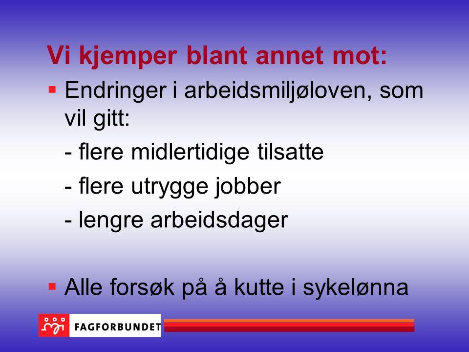 Vi jobber blant annet for:  Full likestilling mellom kjønnene  Utenlandske arbeidstakere skal ha norske lønns og arbeidsvilkår  Jobbe for bedre rettigheter, enn loven sier