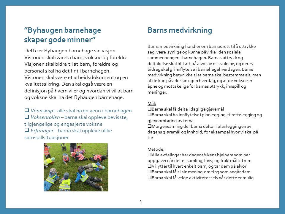 Dette er Byhaugen barnehage sin visjon. Visjonen skal ivareta barn, voksne og foreldre. Visjonen skal bidra til at barn, foreldre og personal skal ha