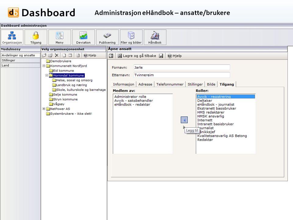 Administrasjon eHåndbok – ansatte/brukere