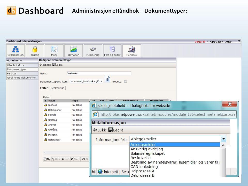 Administrasjon eHåndbok – Dokumenttyper: