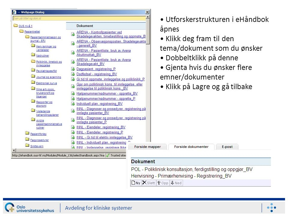 Avdeling for kliniske systemer Utforskerstrukturen i eHåndbok åpnes Klikk deg fram til den tema/dokument som du ønsker Dobbeltklikk på denne Gjenta hv