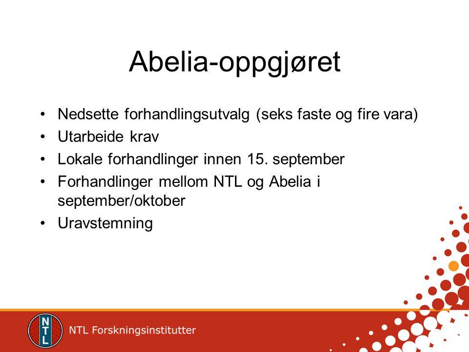 Abelia-oppgjøret Nedsette forhandlingsutvalg (seks faste og fire vara) Utarbeide krav Lokale forhandlinger innen 15. september Forhandlinger mellom NT