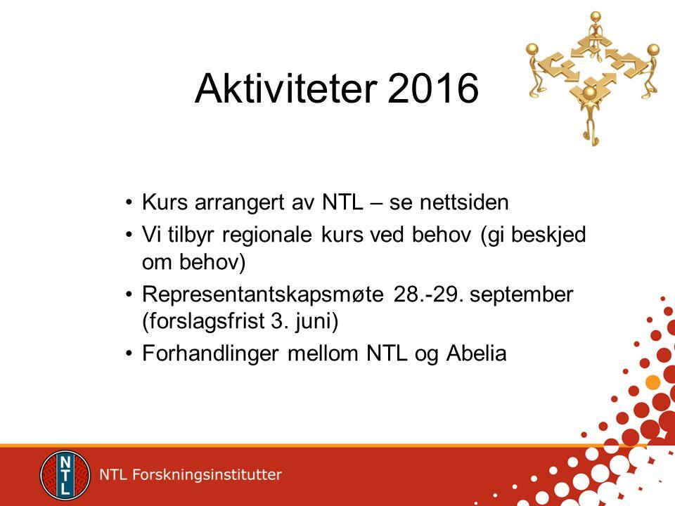 Aktiviteter 2016 Kurs arrangert av NTL – se nettsiden Vi tilbyr regionale kurs ved behov (gi beskjed om behov) Representantskapsmøte 28.-29. september