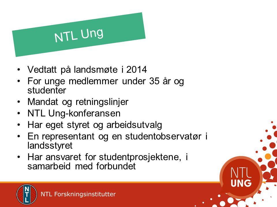NTL Ung Vedtatt på landsmøte i 2014 For unge medlemmer under 35 år og studenter Mandat og retningslinjer NTL Ung-konferansen Har eget styret og arbeid