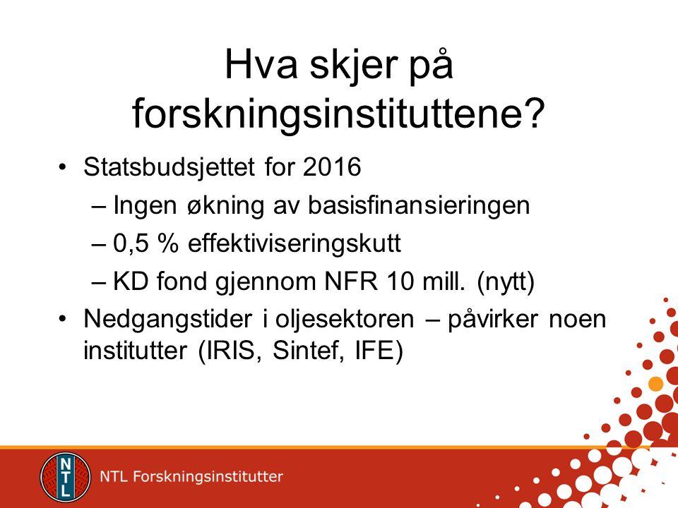 Hva skjer på forskningsinstituttene? Statsbudsjettet for 2016 –Ingen økning av basisfinansieringen –0,5 % effektiviseringskutt –KD fond gjennom NFR 10