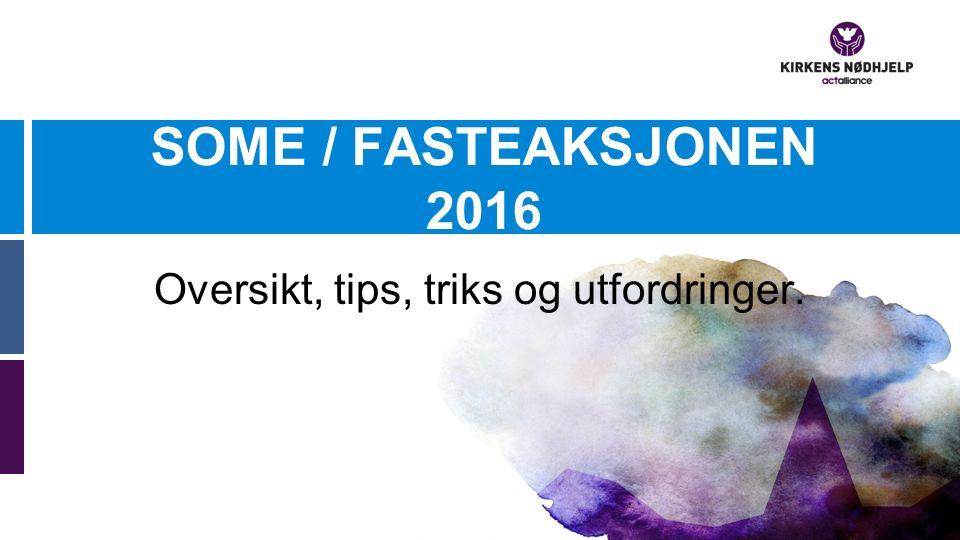 SOME / FASTEAKSJONEN 2016 Oversikt, tips, triks og utfordringer.