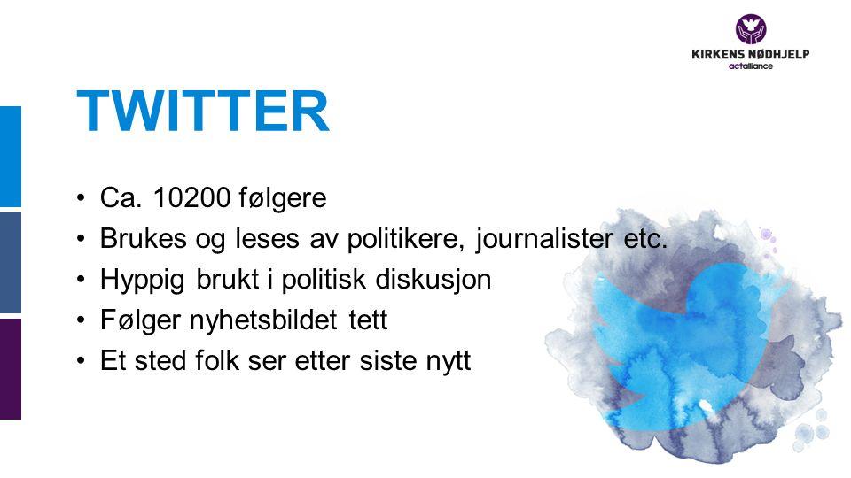 TWITTER Ca. 10200 følgere Brukes og leses av politikere, journalister etc.