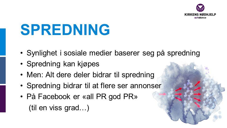 SPREDNING Synlighet i sosiale medier baserer seg på spredning Spredning kan kjøpes Men: Alt dere deler bidrar til spredning Spredning bidrar til at flere ser annonser På Facebook er «all PR god PR» (til en viss grad…)