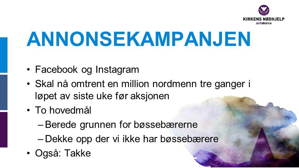 ANNONSEKAMPANJEN Facebook og Instagram Skal nå omtrent en million nordmenn tre ganger i løpet av siste uke før aksjonen To hovedmål –Berede grunnen for bøssebærerne –Dekke opp der vi ikke har bøssebærere Også: Takke