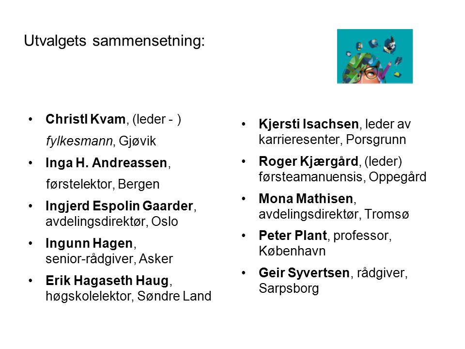Utvalgets sammensetning: Christl Kvam, (leder - ) fylkesmann, Gjøvik Inga H. Andreassen, førstelektor, Bergen Ingjerd Espolin Gaarder, avdelingsdirekt