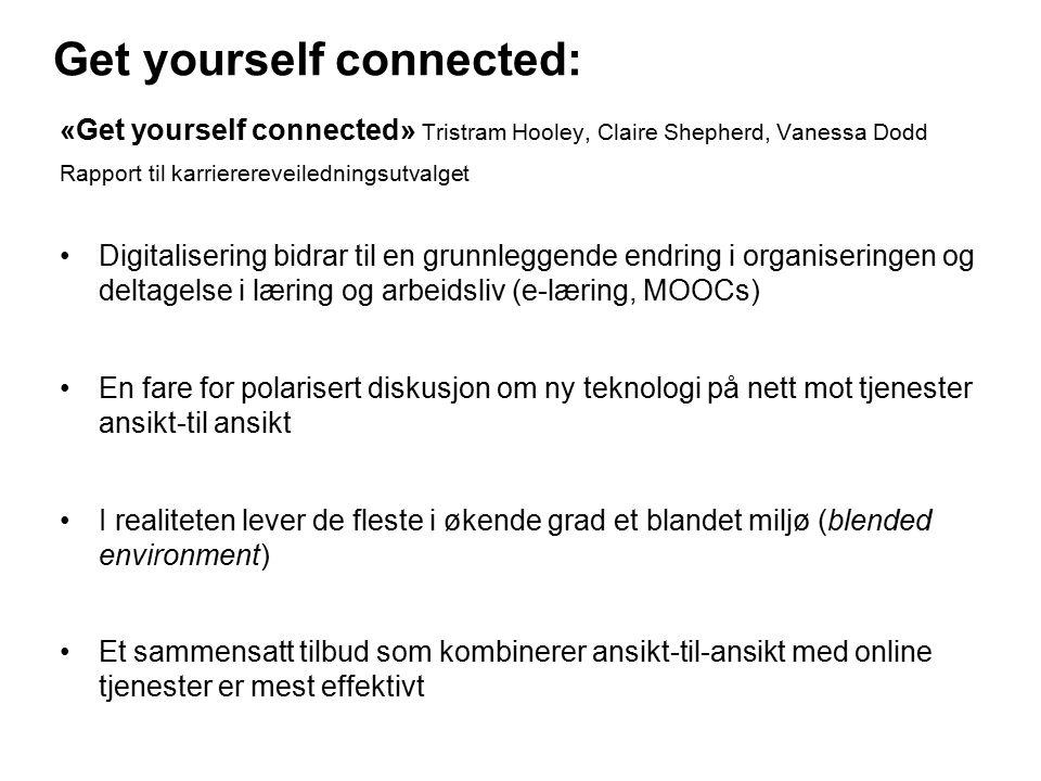 Get yourself connected: «Get yourself connected» Tristram Hooley, Claire Shepherd, Vanessa Dodd Rapport til karrierereveiledningsutvalget Digitalisering bidrar til en grunnleggende endring i organiseringen og deltagelse i læring og arbeidsliv (e-læring, MOOCs) En fare for polarisert diskusjon om ny teknologi på nett mot tjenester ansikt-til ansikt I realiteten lever de fleste i økende grad et blandet miljø (blended environment) Et sammensatt tilbud som kombinerer ansikt-til-ansikt med online tjenester er mest effektivt 18