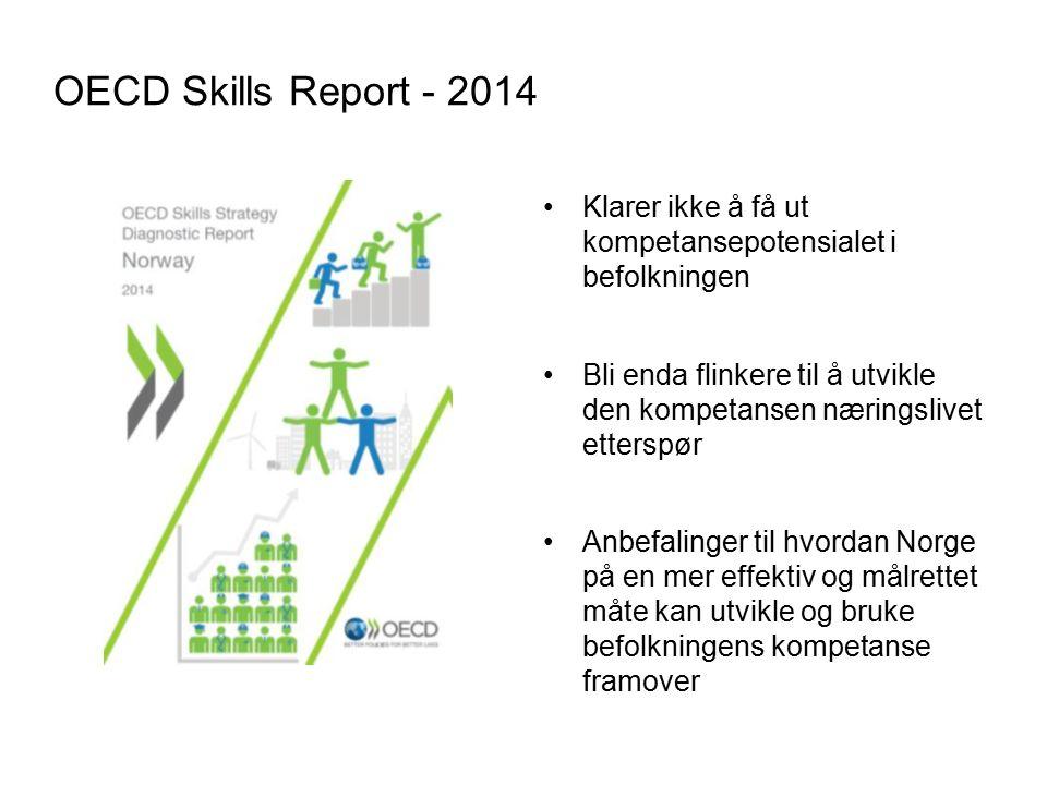 OECD Skills Report - 2014 Klarer ikke å få ut kompetansepotensialet i befolkningen Bli enda flinkere til å utvikle den kompetansen næringslivet etterspør Anbefalinger til hvordan Norge på en mer effektiv og målrettet måte kan utvikle og bruke befolkningens kompetanse framover 8