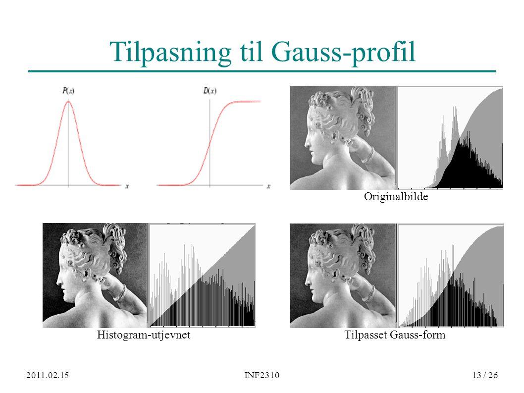 2011.02.15INF231013 / 26 Tilpasning til Gauss-profil Histogram-utjevnet Tilpasset Gauss-form Originalbilde