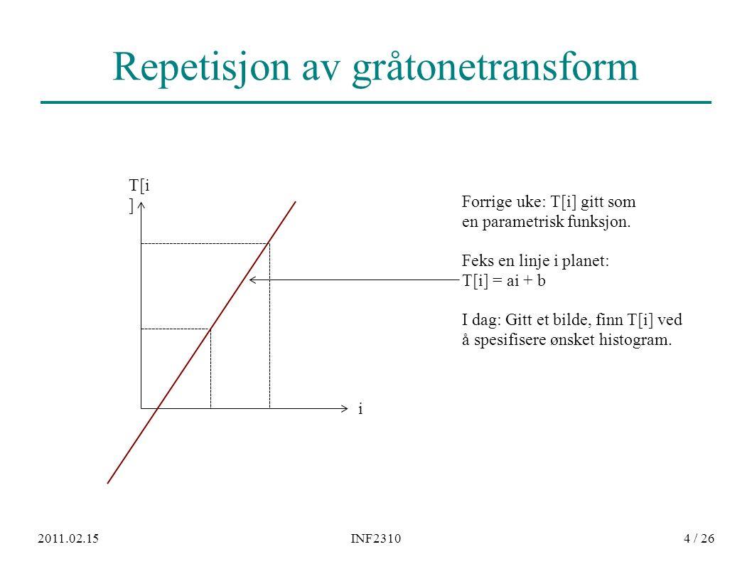 2011.02.15INF23104 / 26 Repetisjon av gråtonetransform T[i ] i Forrige uke: T[i] gitt som en parametrisk funksjon. Feks en linje i planet: T[i] = ai +