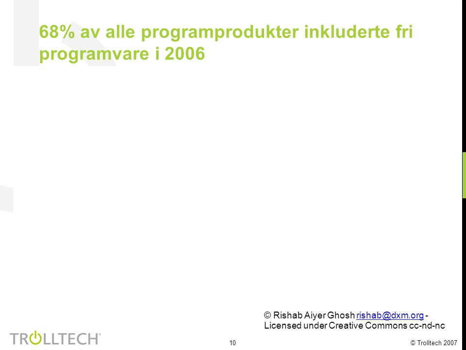 10 © Trolltech 2007 68% av alle programprodukter inkluderte fri programvare i 2006 © Rishab Aiyer Ghosh rishab@dxm.org - Licensed under Creative Commons cc-nd-ncrishab@dxm.org