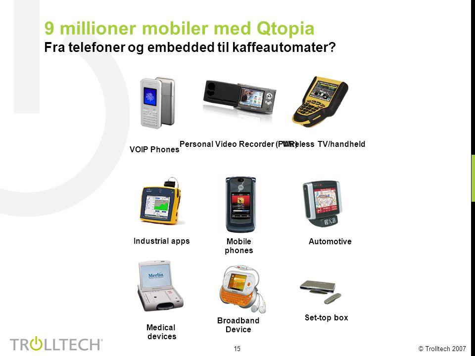 15 © Trolltech 2007 9 millioner mobiler med Qtopia Fra telefoner og embedded til kaffeautomater? Personal Video Recorder (PVR) Set-top box Medical dev