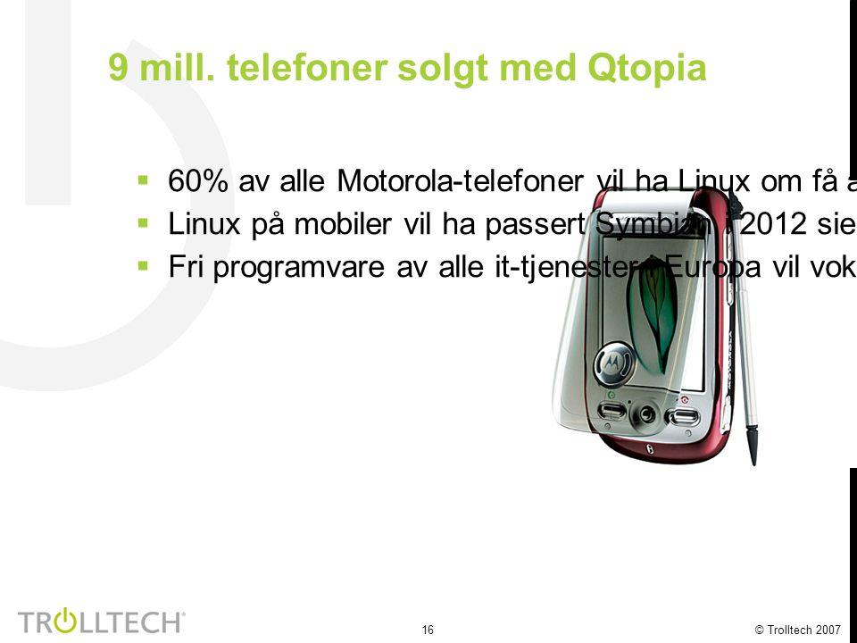 16 © Trolltech 2007 9 mill. telefoner solgt med Qtopia  60% av alle Motorola-telefoner vil ha Linux om få år  Linux på mobiler vil ha passert Symbia