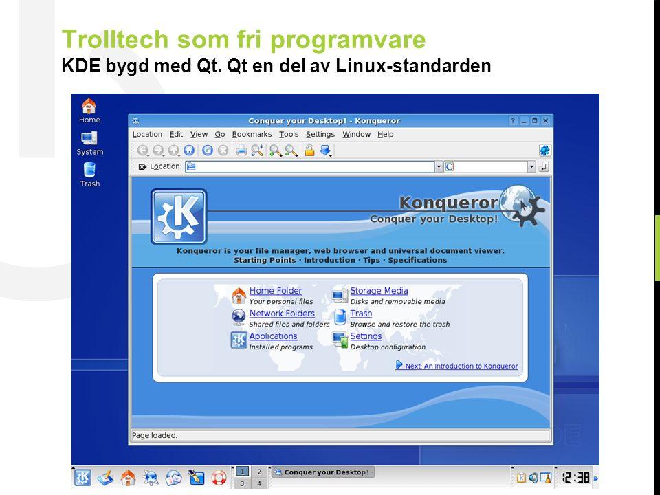 20 © Trolltech 2007 Trolltech som fri programvare KDE bygd med Qt. Qt en del av Linux-standarden