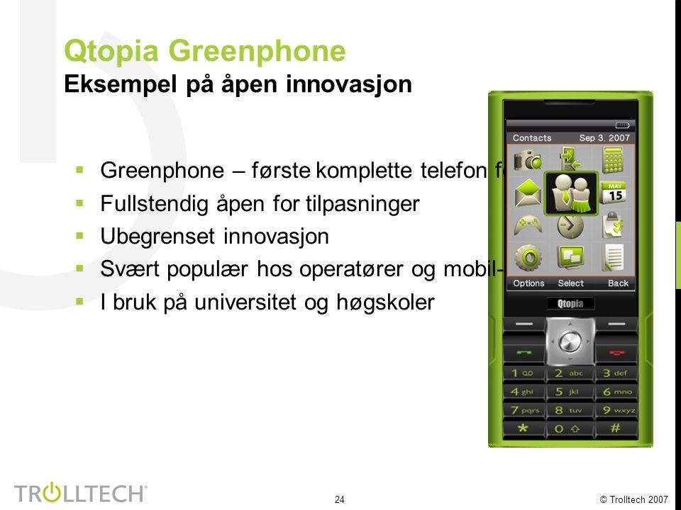 24 © Trolltech 2007 Qtopia Greenphone Eksempel på åpen innovasjon  Greenphone – første komplette telefon for utviklere  Fullstendig åpen for tilpasn