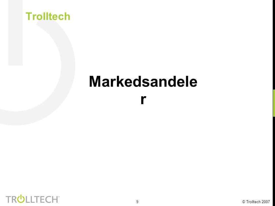 9 © Trolltech 2007 Trolltech Markedsandele r