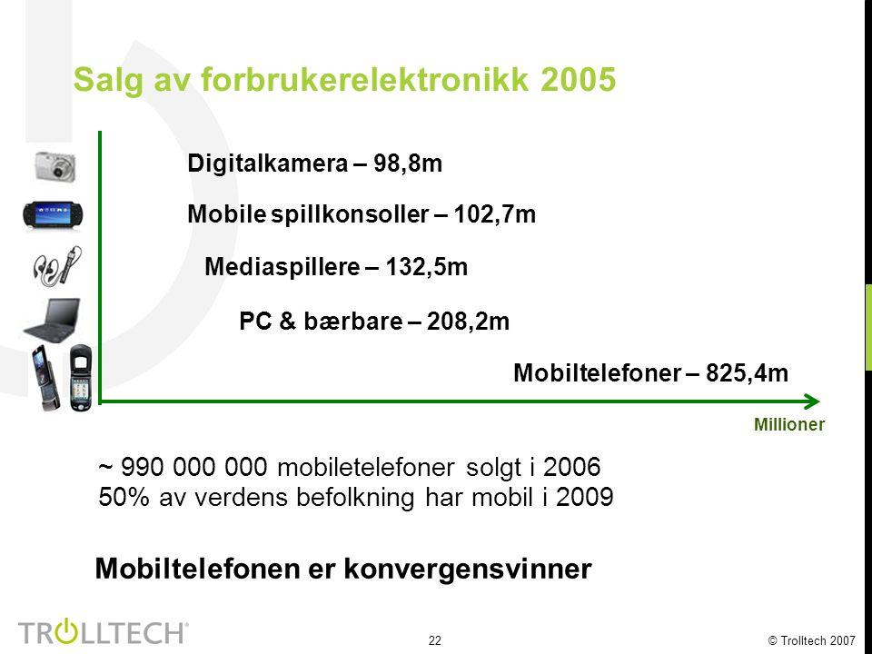 22 © Trolltech 2007 Salg av forbrukerelektronikk 2005 Digitalkamera – 98,8m Mediaspillere – 132,5m PC & bærbare – 208,2m Mobiltelefoner – 825,4m Millioner Mobiltelefonen er konvergensvinner ~ 990 000 000 mobiletelefoner solgt i 2006 50% av verdens befolkning har mobil i 2009 Mobile spillkonsoller – 102,7m
