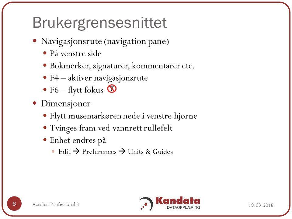 Brukergrensesnittet Navigasjonsrute (navigation pane) På venstre side Bokmerker, signaturer, kommentarer etc.