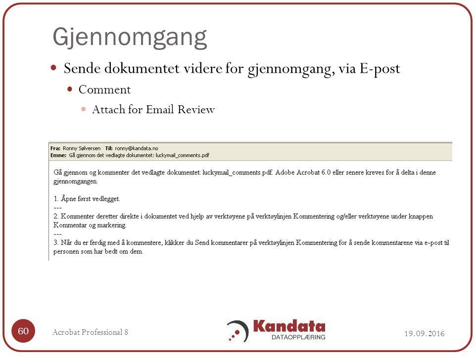 Gjennomgang 19.09.2016 Acrobat Professional 8 60 Sende dokumentet videre for gjennomgang, via E-post Comment Attach for Email Review