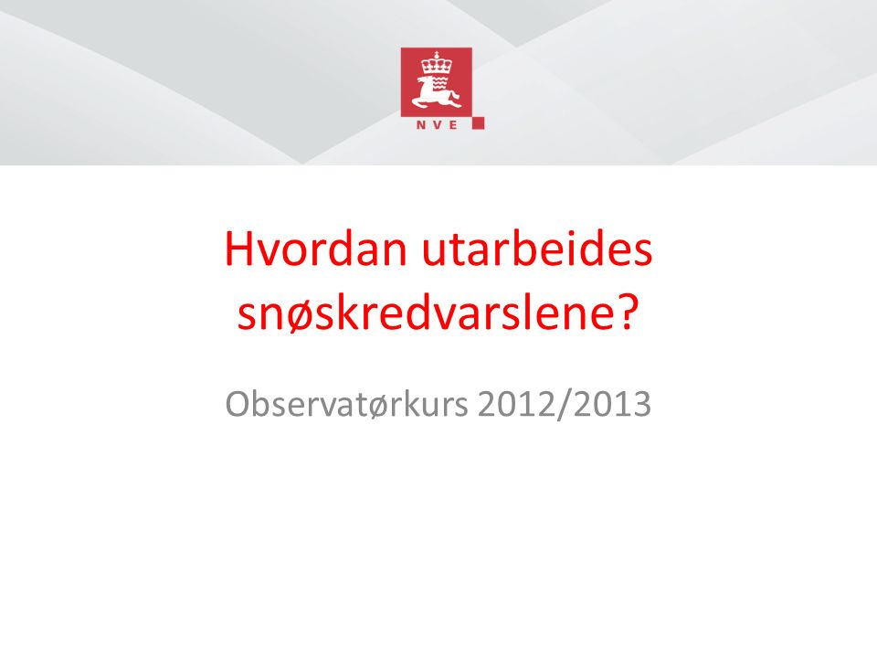 Norges vassdrags- og energidirektorat Dette vil vi unngå Sorbmegaisa vår 2012 Målgruppe: Friluftsliv (ski, skuter)