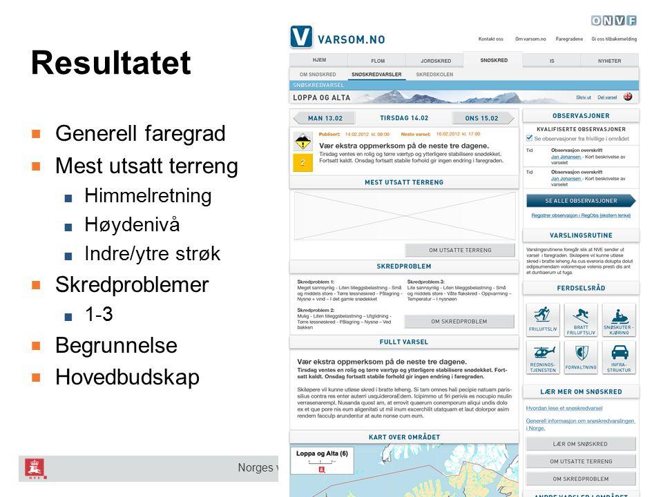 Norges vassdrags- og energidirektorat Resultatet ■ Generell faregrad ■ Mest utsatt terreng ■ Himmelretning ■ Høydenivå ■ Indre/ytre strøk ■ Skredprobl