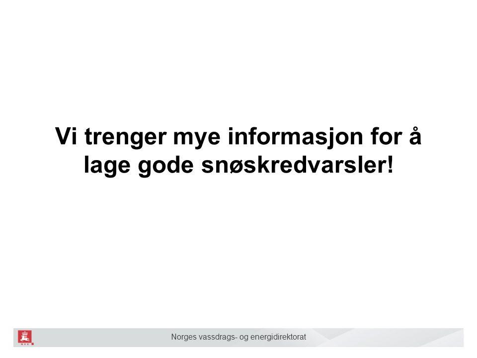 Norges vassdrags- og energidirektorat Hvilke typer data trenger vi.