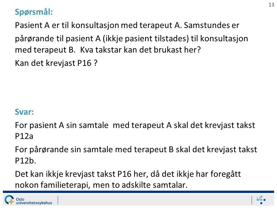 13 Spørsmål: Pasient A er til konsultasjon med terapeut A. Samstundes er pårørande til pasient A (ikkje pasient tilstades) til konsultasjon med terape