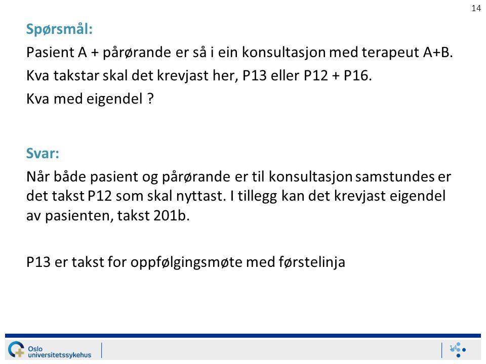 14 Spørsmål: Pasient A + pårørande er så i ein konsultasjon med terapeut A+B. Kva takstar skal det krevjast her, P13 eller P12 + P16. Kva med eigendel
