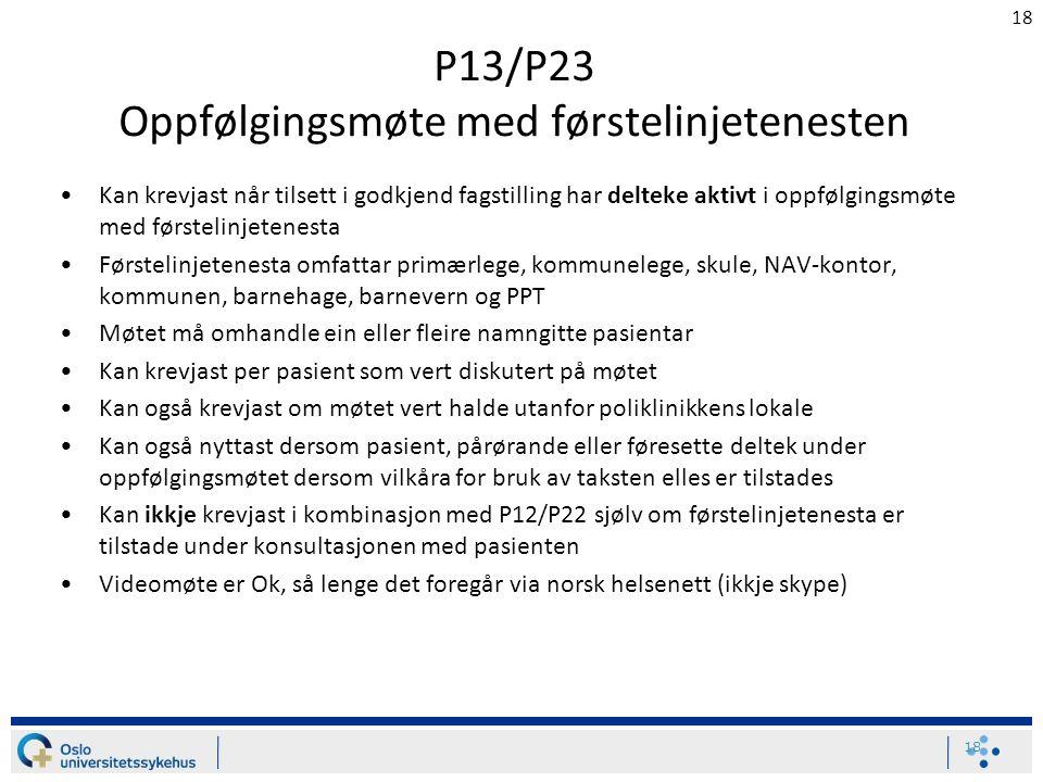 18 P13/P23 Oppfølgingsmøte med førstelinjetenesten Kan krevjast når tilsett i godkjend fagstilling har delteke aktivt i oppfølgingsmøte med førstelinj